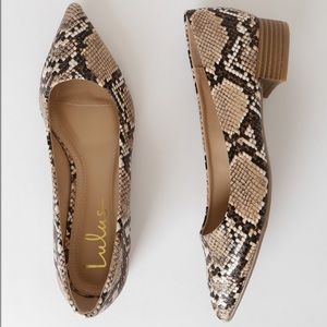 Alessia Snake Print Low Pointed-Toe Heels